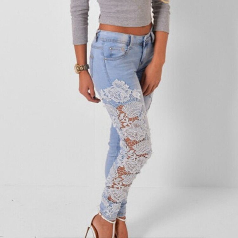 CFYH 2018 New Sexy Women Ripped Skinny   Jeans   Lace Crochet Lady Trousers Mid Waist Female Slim Denim Pencil Pants Plus Size 3XL