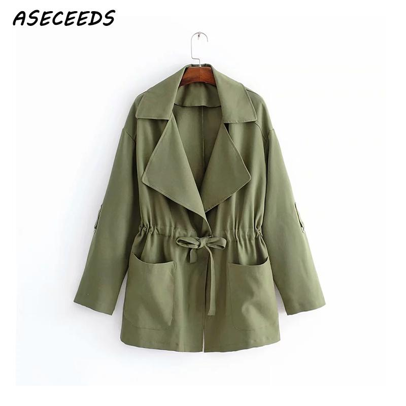 2018 Autumn short windbreaker Korean   trench   coat for women coat Turn Down Collar Drawstring ArmyGreen outwear casual pocket Coat