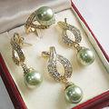 Natural 12 mm verde Shell de la perla anillo pendientes collar colgante de la cadena + libre AAA style Fine Noble real Natural envío gratis