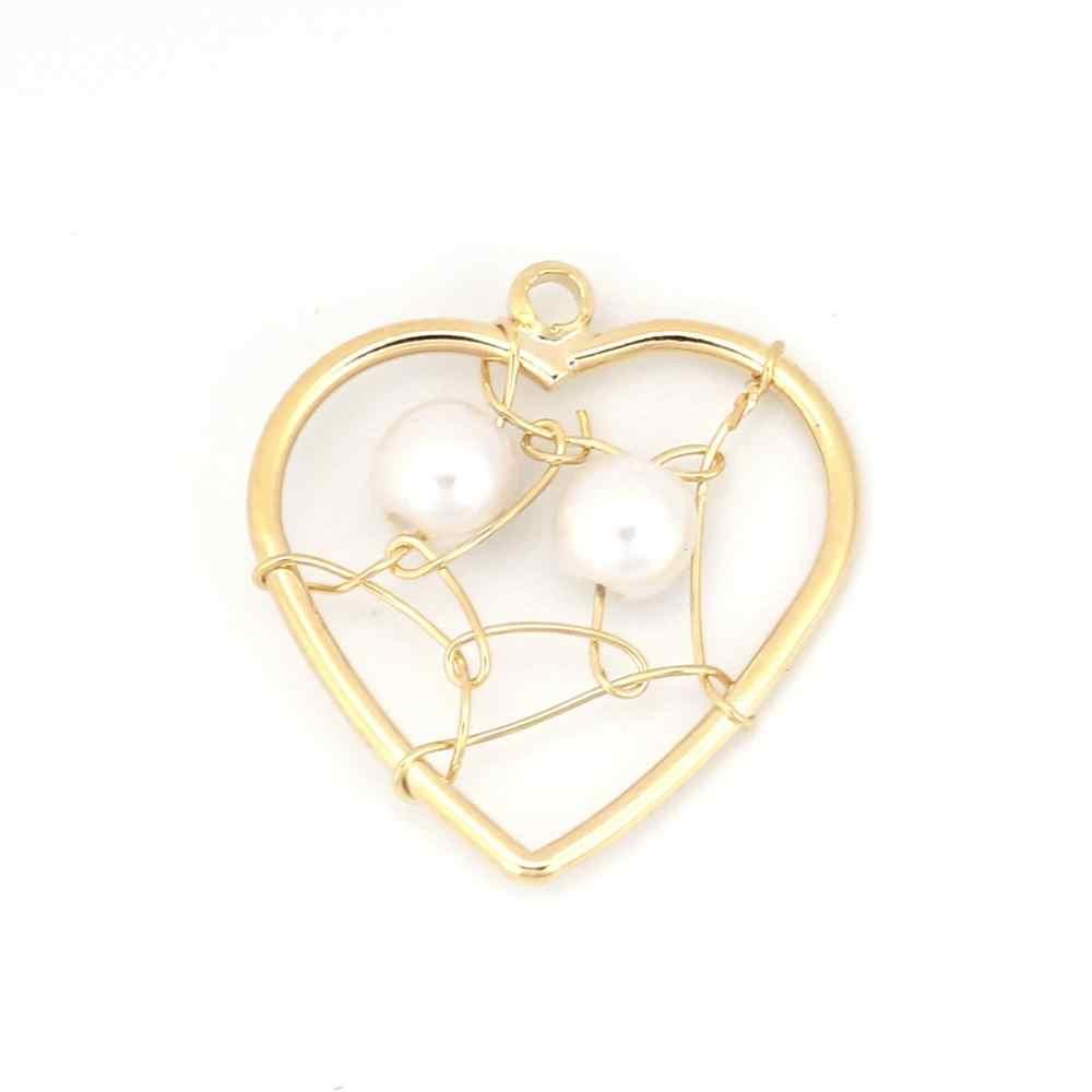 DoreenBeads ทองแดงลวดโลหะลูกปัดอะคริลิค Charms จี้สี่เหลี่ยมผืนผ้าหัวใจ Hollow เครื่องประดับอุปกรณ์เสริมสีทอง 1 ชิ้น