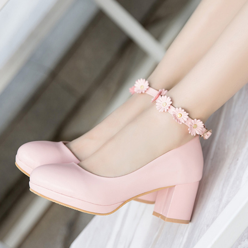 Fashion! Student Party Shoes High-heeled Flowers Shoes Size 30-36 For Bigger Girl Kid Heeled Leather Shoes Flower Girls Shoes