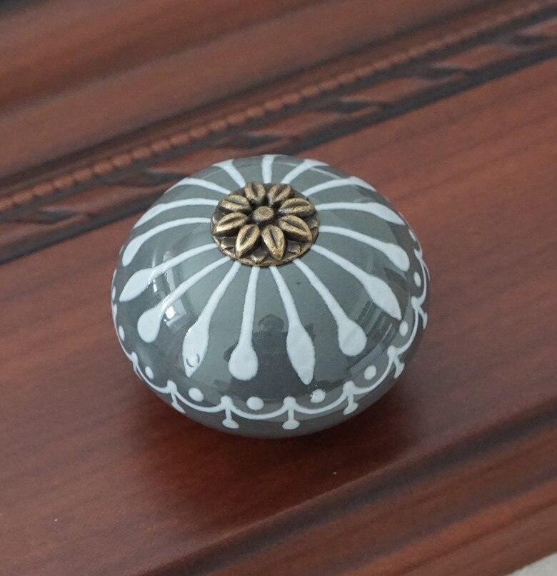 Керамическая ручка/ручки для комода белого и синего цвета, ручки для шкафа/уникальная ручка для кухонной двери, мебельная фурнитура - Цвет: Светло-серый