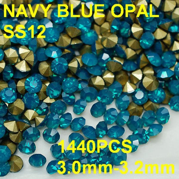 SS12 1440pcs/lot 3.0mm-3.2mm Hot Sale Crystal Opal Rhinestone Golden Pointback Nail 3D Blue Protein Rhinestones Decoration