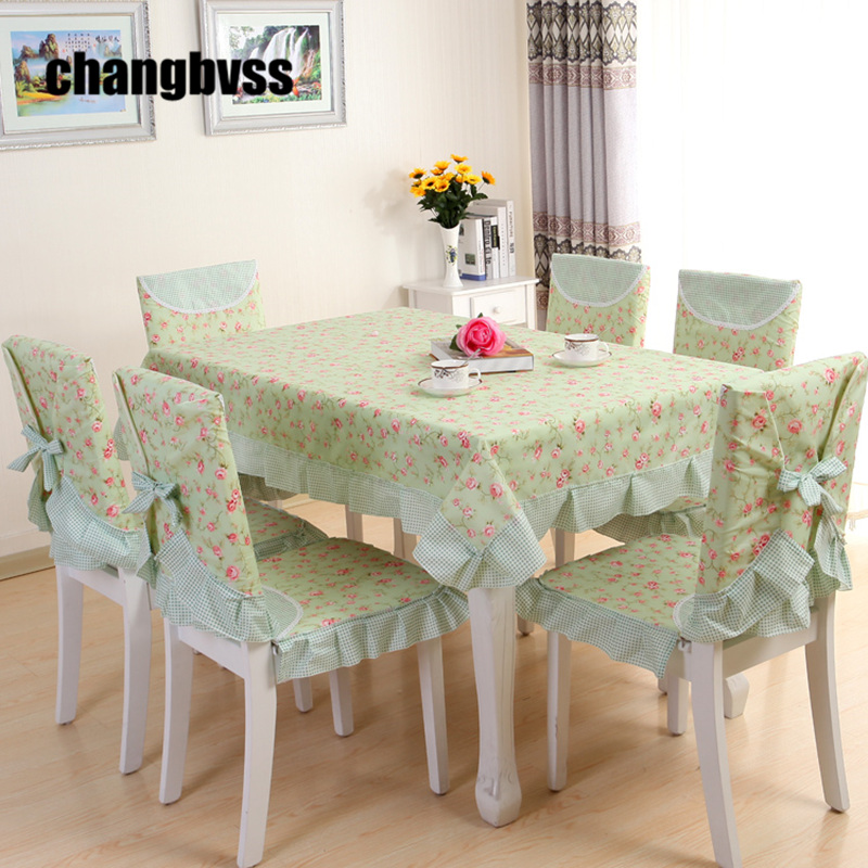 Green pink pastoral style table cloth tablecloth 9pcs set - Nappe table rectangulaire ...