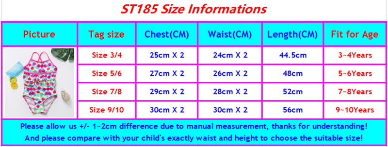 ST185 girls swimwear size chart