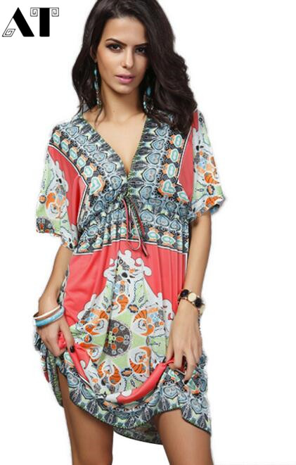 Women V sexy soft milk silk tribal dresses Ethnic casual loose waist Beach Dress