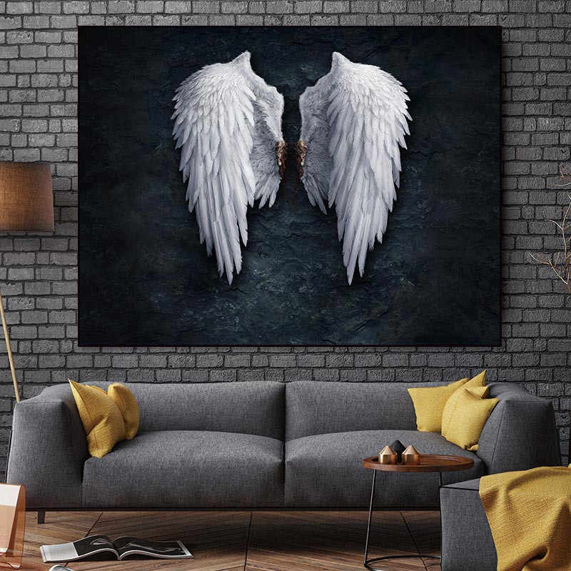 Angel Wings Wall Art Canvas Painting Feather Wing Posters