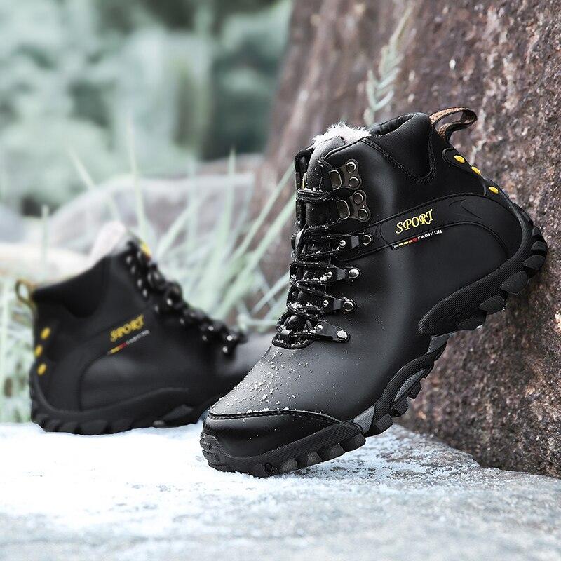 Men Hiking Shoes Autumn Winter Plus Velvet Waterproof Sports
