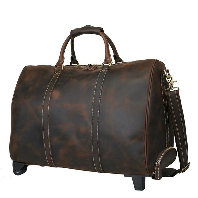Designer de Moda de Luxo de Couro Genuíno Sacos Organizador Duffle Bag para Homens bolsa de Viagem Do Trole Da Bagagem Grande Sacola Fim de Semana Durante A Noite