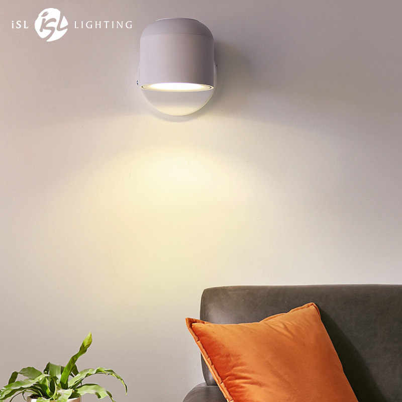 Aisilan Lampu Dinding Gaya Modern Dinding Lampu Adjustable Hitam/Putih 7W untuk Samping Tempat Tidur Kamar Tidur Cermin Lampu Koridor Tempat Lilin AC90-220V