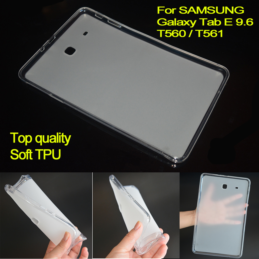 T560 TPU Cover Case Soft Rubber Silicone Case For Samsung Galaxy Tab E 9.6 T561 Semi Transparent Back Case for SM-T560 SM-T561 for ipad mini4 cover high quality soft tpu rubber back case for ipad mini 4 silicone back cover semi transparent case shell skin