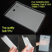 T560 cubierta case case de silicona de goma suave de tpu para samsung galaxy tab e 9.6 t561 semi transparente volver case para sm-t560 sm-t561
