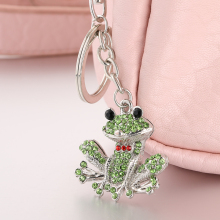 Fashion rhinestone ornament kawaii frog bag pendant charm women handbag keyring ysk086 creative crystal key chain clip souvenir
