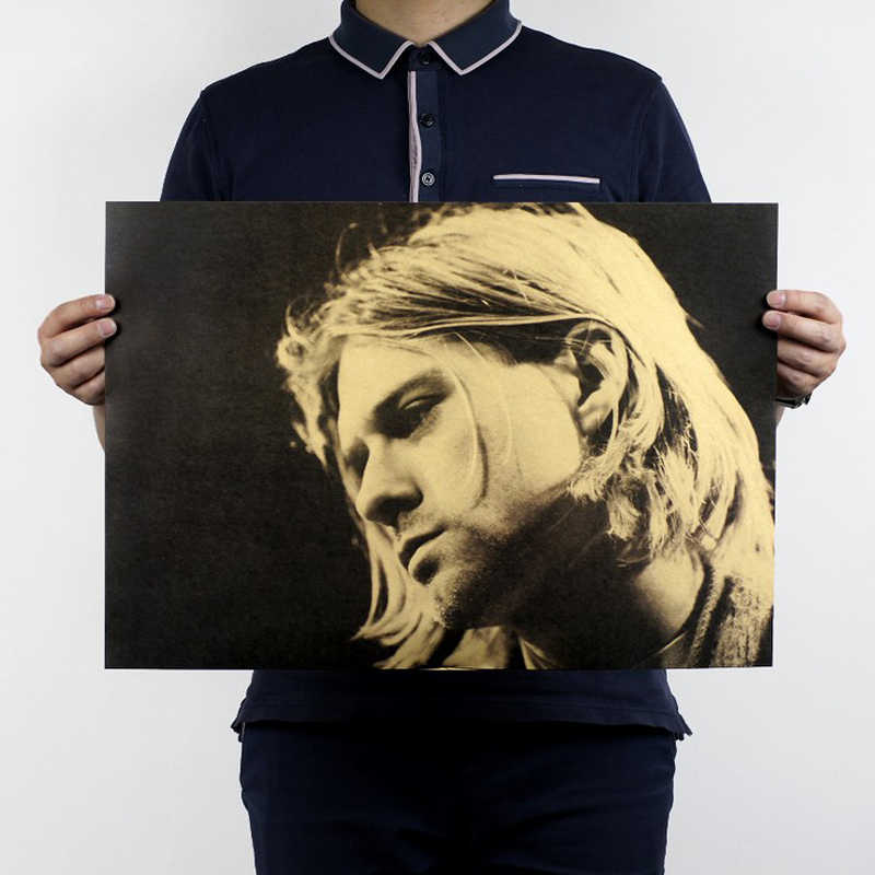 Free shipping,Kurt Cobain C/Nirvana frontman/rock music poster/kraft paper/bar poster/Retro Poster/decorative painting 51x35.5cm