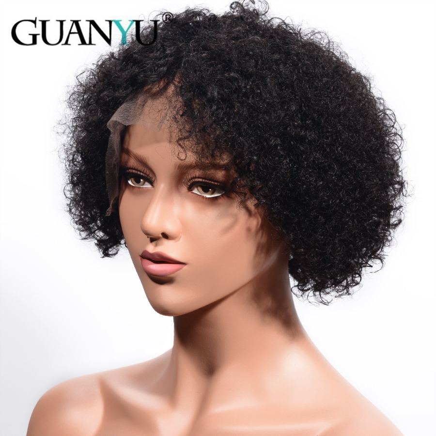 Short Kinky Curly Human Hair Wigs With Baby Hair Pre Plucked Brazilian Remy Hair Lace Front