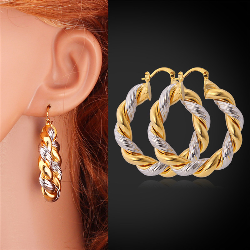 Big Twisted Hoop Earrings For Women Double Color Plated Wedding ...