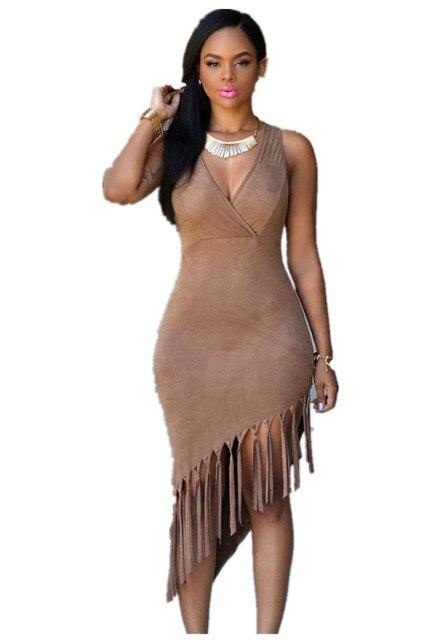 1d5312f5325a Dear Lover Faux Suede Dress Women Tassels Splicing Sexy Dress Slim Bodycon  Dress Brown Midi Fringe