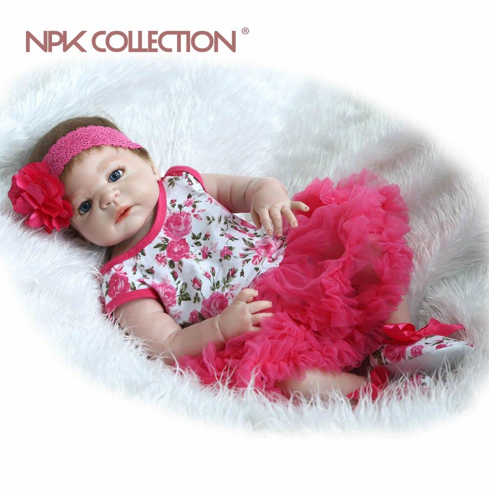 Handgemachte reborn baby 57 cm 23 zoll vollvinylsilikon puppe lebensechte newborn baby schlafen baby puppe Weihnachtsgeschenk süße baby-in Puppen aus Spielzeug und Hobbys bei  Gruppe 1