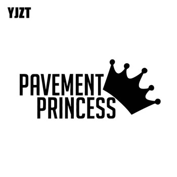 YJZT 12.9CM*5.5CM PAVEMENT PRINCESS Car Sticker Funny Stance Turbo Boost Vinyl Decal Crown Black/Silver C10-00902 image