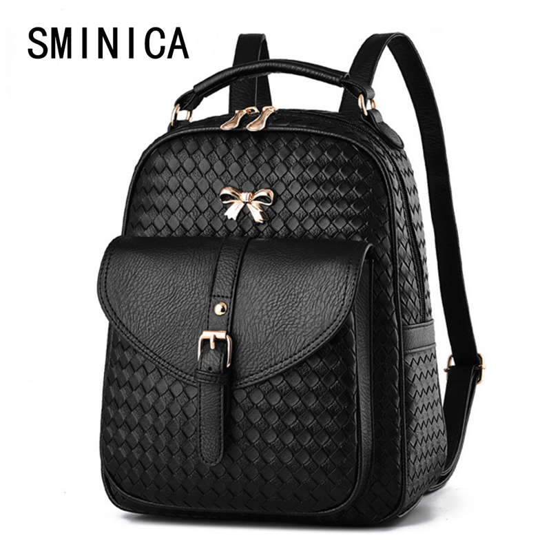 fashion Weave women leather backpack feminine school bags for teenagers rucksack feminine knapsack Leisure 5S4144