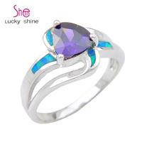Top Unique Fire Purple Stone Opal Gem 925 Sterling Silver Rings For Family Friend Russia USA