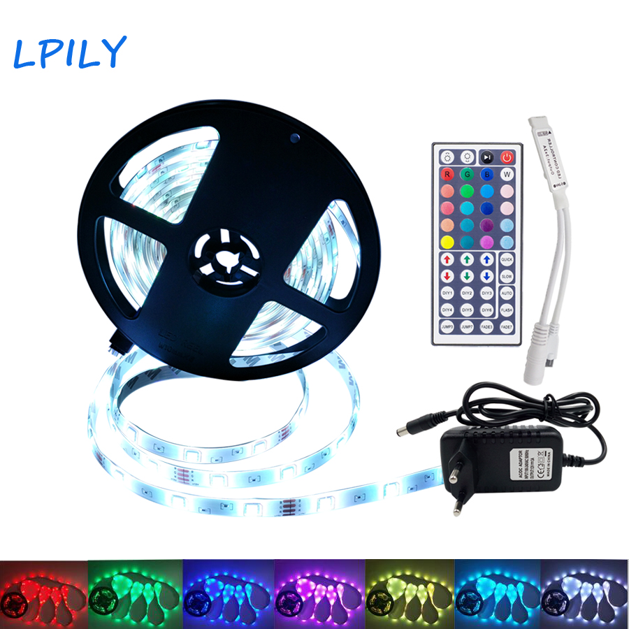 LED Strip 5M 10M 15M 2835 5050 led strip light non waterproof RGB strip led ribbon diode tape with IR remote and DC 12v adapter