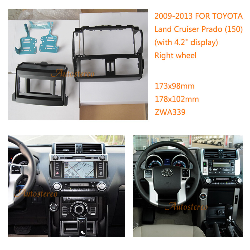Car Radio Fascia multimedia Frame Kit For TOYOTA Land Cruiser Prado (150) 2009-2013 with 4.2 display Facia Panel Trim Dash CD