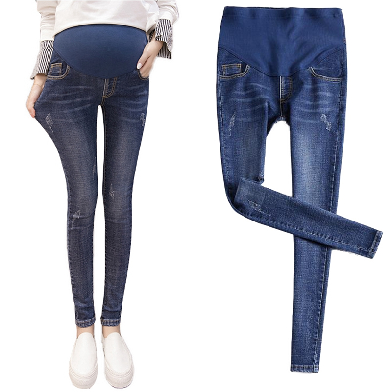 Primavera e outono novos sapatos de algodão elástico na cintura fina emagrecimento maternidade gravidez jeans ropa roupas das mulheres grávidas premama