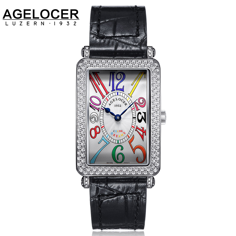 Genuine Leather Swiss Brand Ladies Watch Women Stone Stub Quartz Table AGELOCER Slim And Stylish Watches For Lady Birthday Gift 2016 aladdin and the magic lamp watch the young men and women fashion quartz pocket watch table birthday gift ds262