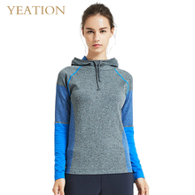 YEATION Woman Pullover Sports Hoodies Patchwork Hooded Running Sweatshirts Female Jogger Top