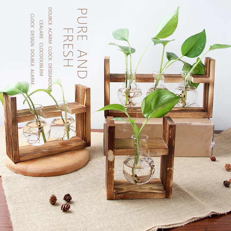 Home Decor Plant Glass Bottle Vases Wooden Display Frame Hydroponic Plants Transparent Flower Pot Wooden Frame Tabletop Vase