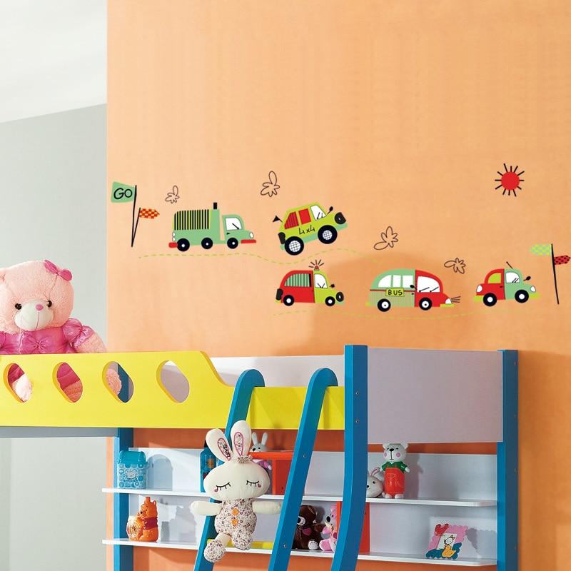 car wall sticker boys room decal home decorations cartoon wall art ...