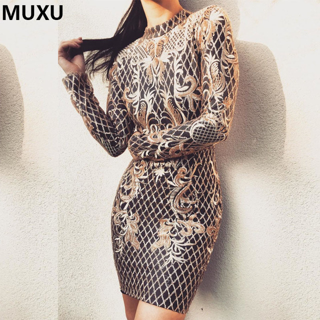 be8582726 MUXU Fashion Women Dress Sexy Shiny Sequined Party Dresses long sleeve  glitter bodycon clothing club moda feminina party jurk
