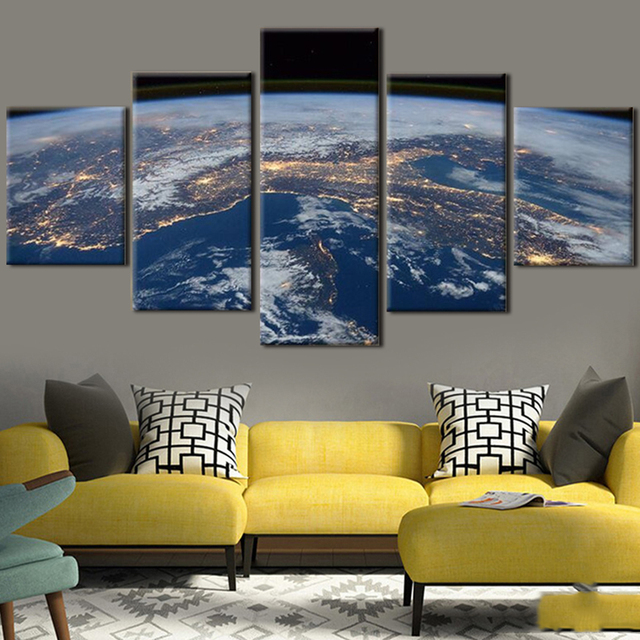 Merveilleux Modern HD Printed Posters Home Decor Paintings Modular 5 Panel Earth  Landscape Living Room Tableau Wall