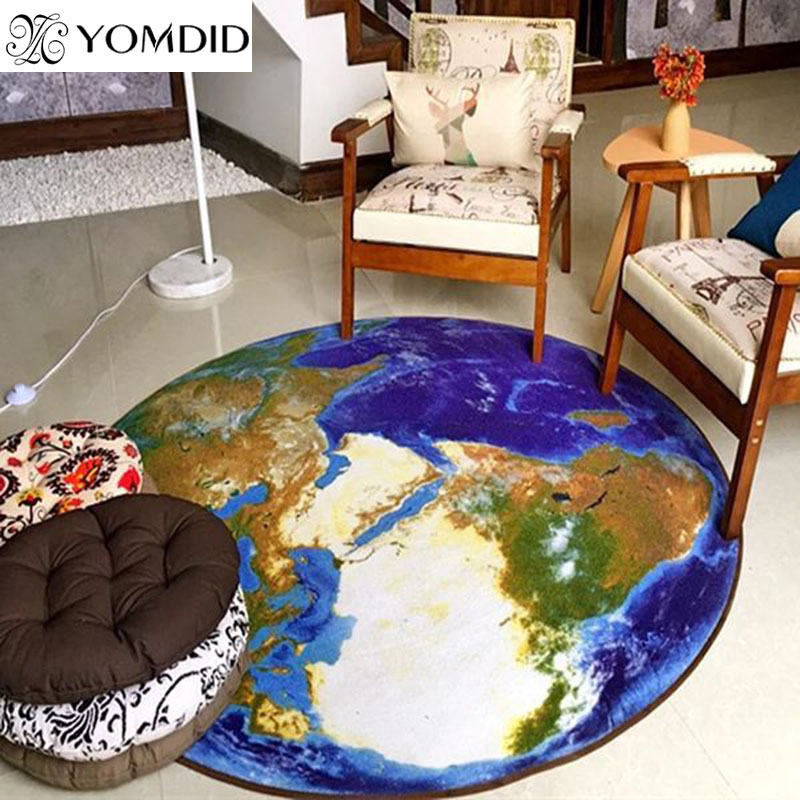 3D Earth Round Carpet map printing mat for living room World Map Printed Mat Kid Rug for Boy Bedroom Chair computer sofa carpet