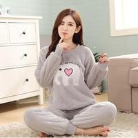 New Listing Flannel Pajama Suit Sets Cartoon Animal Thick Bundle Plush Pijama Costume Nightgown Sleepsuit Winter