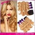 Top Grade Malásia onda Do Corpo Do cabelo virgem 3 pcs com fecho ombre 1b 27 # Cabelo Humano Malaio Pacotes com Marrom Escuro fechamento