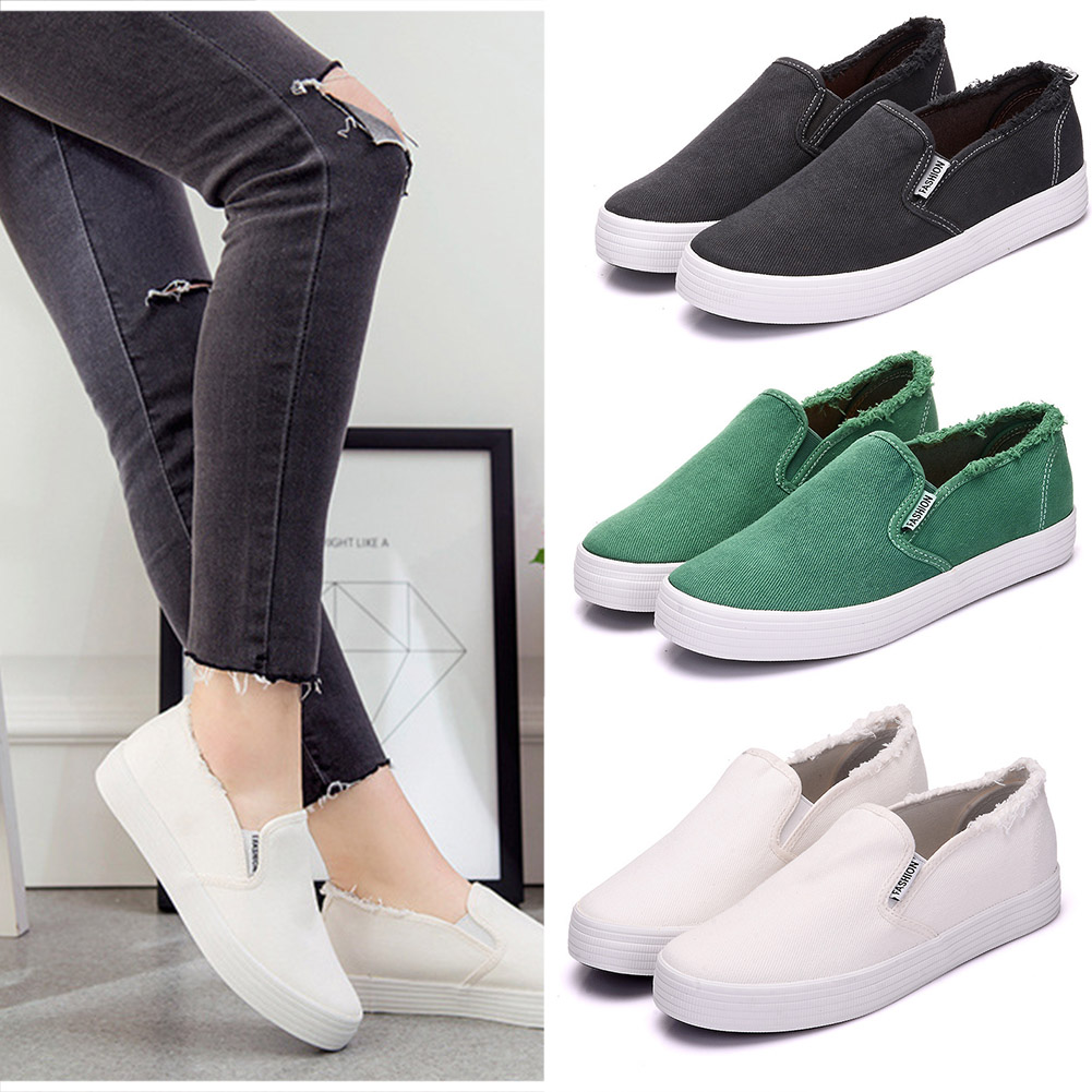 2018 Flat Canvas Shoes Women Loafers Spring Autumn Casual White Black Shoes Platform Slip On Women Sneakers стоимость