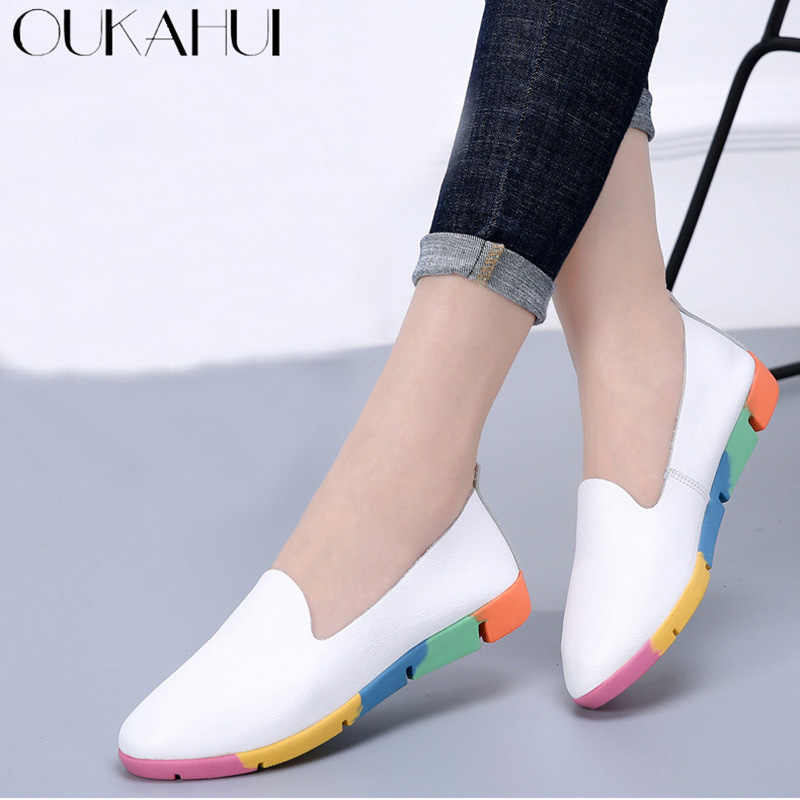 bfcdff7c3859 OUKAHUI Summer Design Fashion Genuine Leather Flat 2018 Loafers Shoes Women  Leather Soft Colorful Pointed Toe