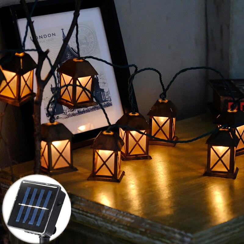 20Led Fée Rétro Maison lanterne Solaire Power Jeu De Lumières 5 m LED Décoration Pour Guirlande De Noël Nouvelle Année gerlyanda 2018