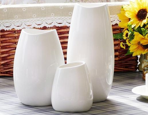 Freeshipping White Porcelain Vase Furnishing Articles White Ceramic