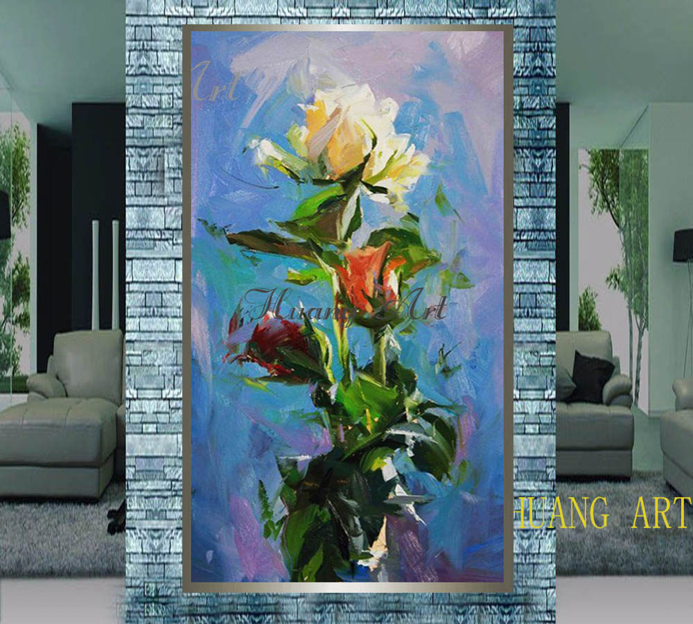 Hand painted High Quality Abstract Flower Oil Painting On Canvas Handmade Impression Flowers Oil Painting For Hotel Decoration in Painting Calligraphy from Home Garden