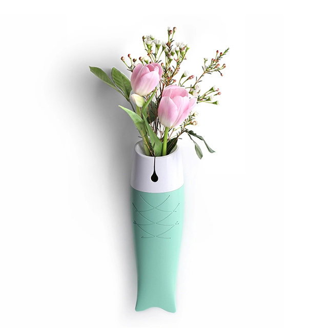 Modern Brief Vases Fish Shaped Green Wall Hanging Vases Wedding