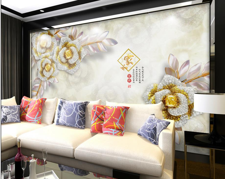 3d wallpaper for room Gold gemstone flower jewelry background wall