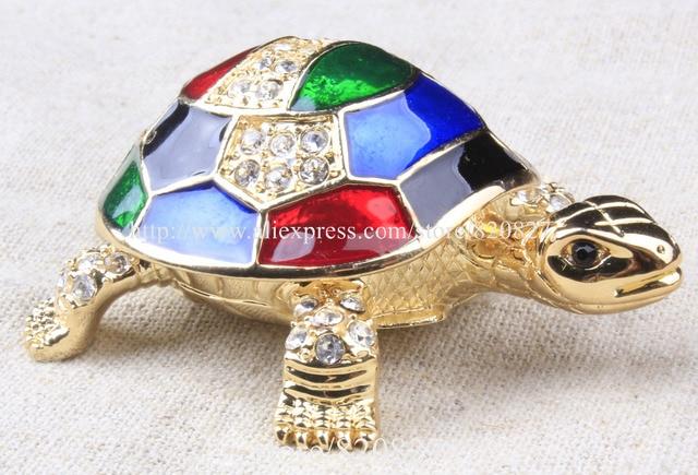 Vintage Turtle Jewelry Trinket Box Decorative Collectible Enamel Sea