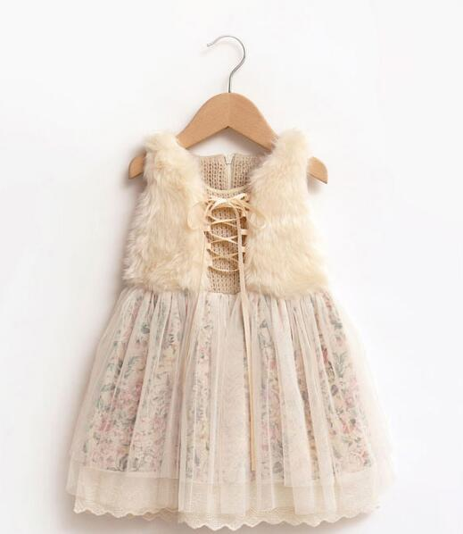 Girls winter floral dress baby kids fur tulle clothing children lace 2016