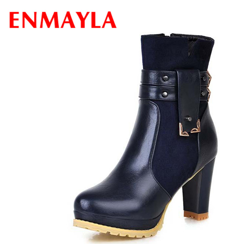 ENMAYLA Autumn Women High Heels Ankle Boots for Women Buckle Sewing Chunky Heels Shoes Woman Round Toe Platform Knigh Boots enmayla ankle boots for women low heels autumn and winter boots shoes woman large size 34 43 round toe motorcycle boots
