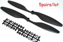 LHM097 1045 10 4 5 Blade Propeller Black props For RC 4 axis KK Multicopter Quadcopter