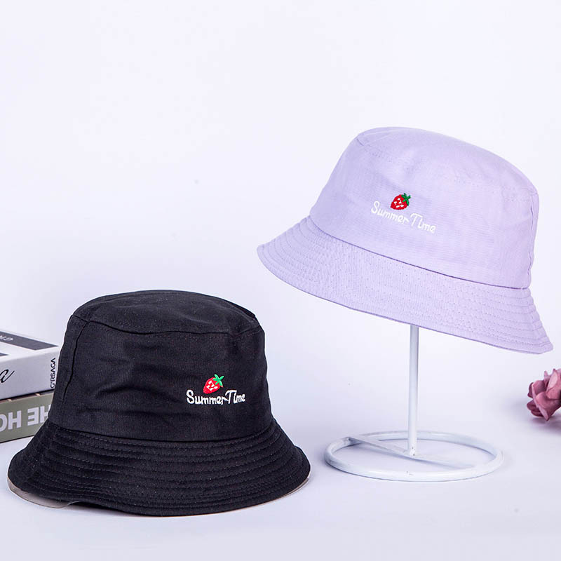 Cute Strawberry Embroidery Letters Girl Fisherman Hat Women Foldable Creative Outdoor Fashion Basin Cap Bucket Sun Hat Beanies