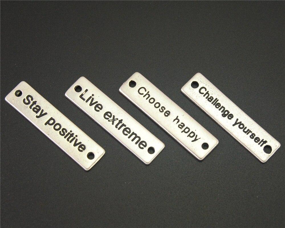 20pcs Antique Sliver Letter strip Charm Fit Bracelets Necklance DIY Metal Jewelry Making 31x8Mm A2140/A2141/A2142/A2170